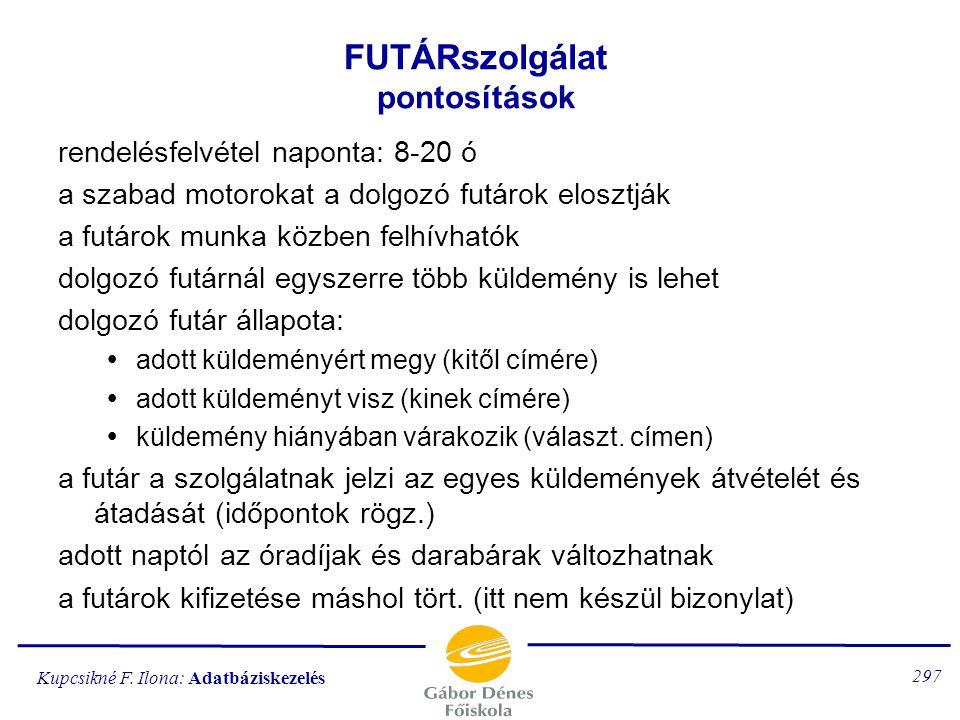 Kupcsikné F. Ilona: Adatbáziskezelés 296 az adatbázis-rendszer specifikációjának tartalma:  a konkrét rendszer pontosítása  a rendszer funkciói  az