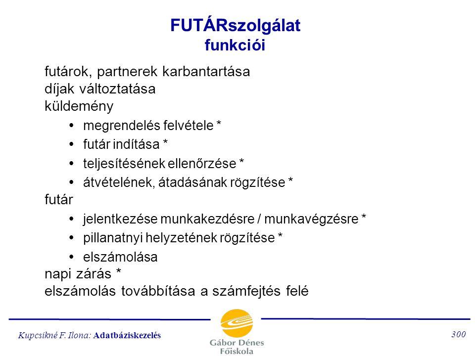 Kupcsikné F. Ilona: Adatbáziskezelés 299 FUTÁRszolgálat adatbázis-megszorítások kulcsok (egyik sem lehet null) külső kulcsok (csak a KÜLDEM.fszám lehe
