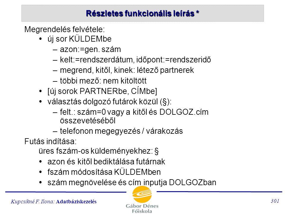 Kupcsikné F. Ilona: Adatbáziskezelés 300 futárok, partnerek karbantartása díjak változtatása küldemény  megrendelés felvétele *  futár indítása * 