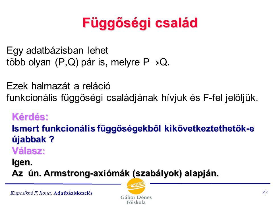 Kupcsikné F. Ilona: Adatbáziskezelés 36 A kulcs definíciója a funkcionális függőség fogalmával: K kulcsa az R{A} relációnak, ha 1.) K  A 2.) Nincsen