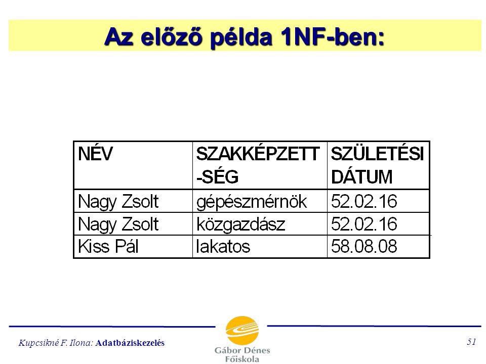 Kupcsikné F. Ilona: Adatbáziskezelés 50 R 1. normálformájú (1NF típusú), ha minden másodlagos tulajdonság funkcionálisan függ a kulcstól. … a táblázat