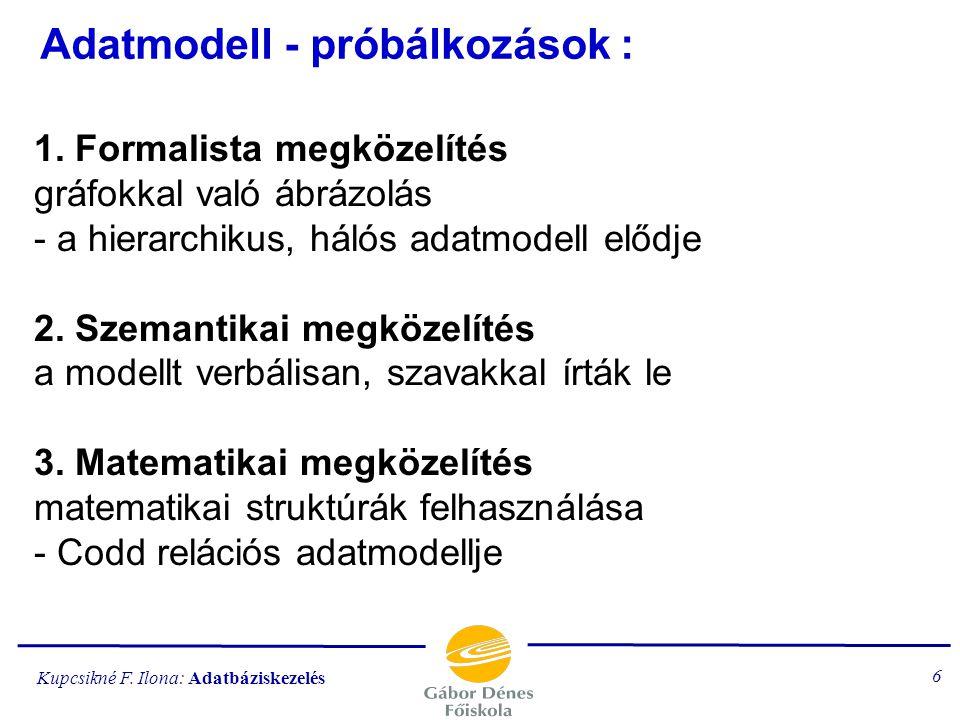 Kupcsikné F. Ilona: Adatbáziskezelés 5 ADATBÁZISOK-ra való igény Adatbázis: adatoknak kapcsolataikkal együtt való ábrázolása, tárolása. Előnye: egysze