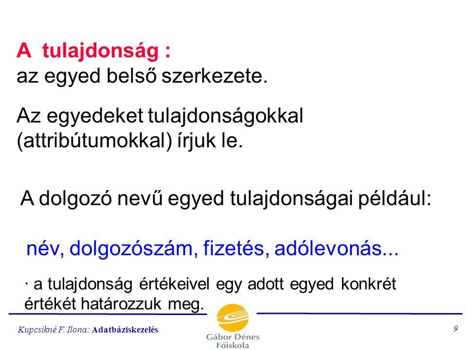 Kupcsikné F.Ilona: Adatbáziskezelés 149 Alapelemek Az SQL táblákat (relációkat kezel).