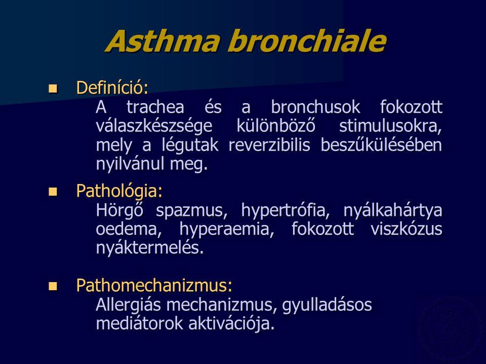 Asthma bronchiale Definíció: Definíció: A trachea és a bronchusok fokozott válaszkészsége különböző stimulusokra, mely a légutak reverzibilis beszűkülésében nyilvánul meg.