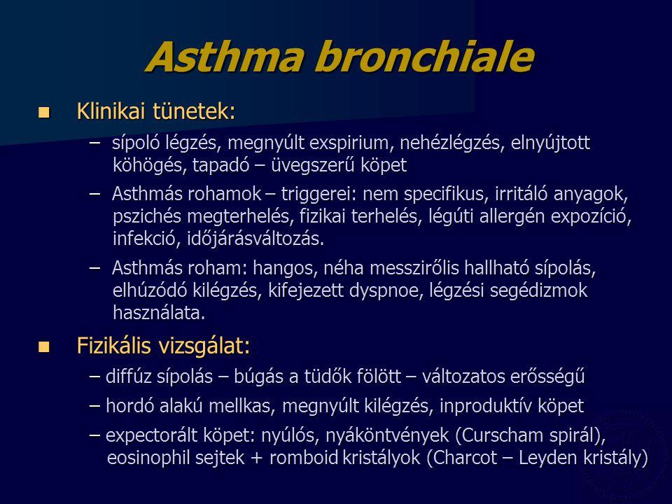 Asthma bronchiale Klinikai tünetek: Klinikai tünetek: – sípoló légzés, megnyúlt exspirium, nehézlégzés, elnyújtott köhögés, tapadó – üvegszerű köpet – Asthmás rohamok – triggerei: nem specifikus, irritáló anyagok, pszichés megterhelés, fizikai terhelés, légúti allergén expozíció, infekció, időjárásváltozás.