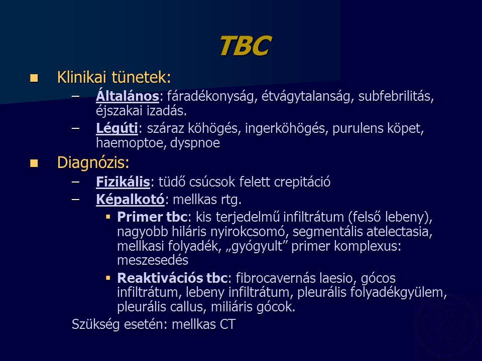 TBC Klinikai tünetek: Klinikai tünetek: –Általános: fáradékonyság, étvágytalanság, subfebrilitás, éjszakai izadás.