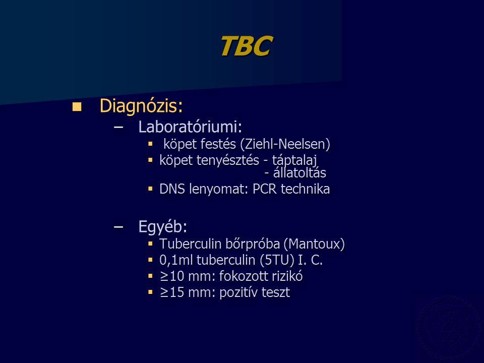 TBC Diagnózis: Diagnózis: –Laboratóriumi:  köpet festés (Ziehl-Neelsen)  köpet tenyésztés - táptalaj - állatoltás  DNS lenyomat: PCR technika –Egyéb:  Tuberculin bőrpróba (Mantoux)  0,1ml tuberculin (5TU) I.