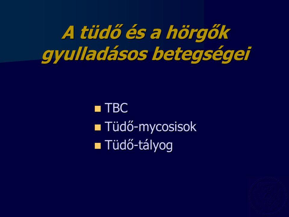 Asthma bronchiale Laboratóriumi leletek: Laboratóriumi leletek: –fvs  – roham alatt –eosinofília (nem kötelező) –beszűkült légzésfunkció (FVC, FEV 1, FEF) Rtg.: nem diagnosztikus Rtg.: nem diagnosztikus Bronchus provokációs tesztek: Bronchus provokációs tesztek: nem veszélytelen, szenzitivitás 95% nem veszélytelen, szenzitivitás 95% Szövődmények: Szövődmények: Kimerülés, légúti fertőzés, cor pulmonale acutum et chronicum, tachycardia.