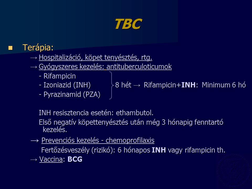 TBC Terápia: Terápia: → Hospitalizáció, köpet tenyésztés, rtg.