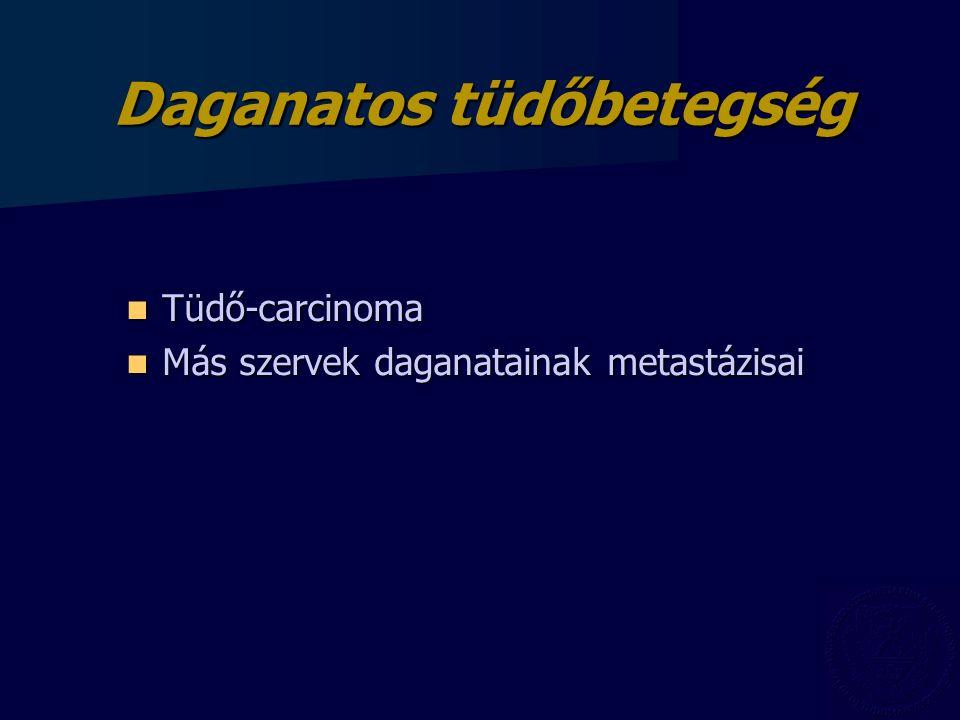 Daganatos tüdőbetegség Tüdő-carcinoma Tüdő-carcinoma Más szervek daganatainak metastázisai Más szervek daganatainak metastázisai