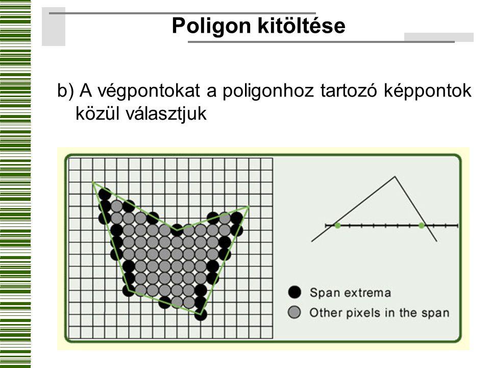 Poligon kitöltése b) A végpontokat a poligonhoz tartozó képpontok közül választjuk