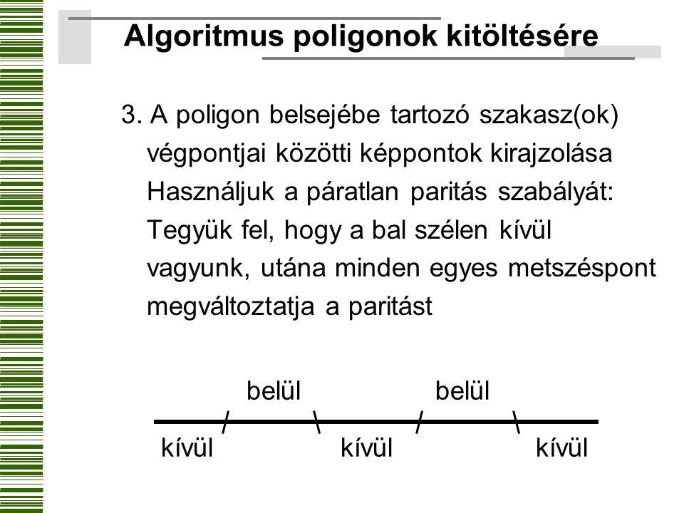 3. A poligon belsejébe tartozó szakasz(ok) végpontjai közötti képpontok kirajzolása Használjuk a páratlan paritás szabályát: Tegyük fel, hogy a bal sz