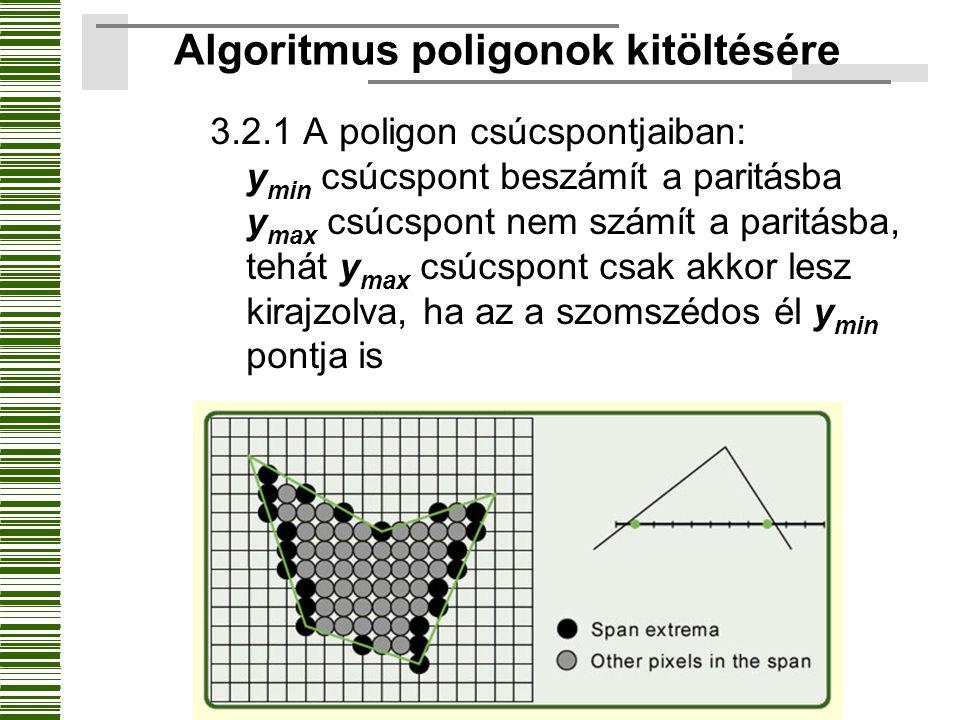 3.2.1 A poligon csúcspontjaiban: y min csúcspont beszámít a paritásba y max csúcspont nem számít a paritásba, tehát y max csúcspont csak akkor lesz ki