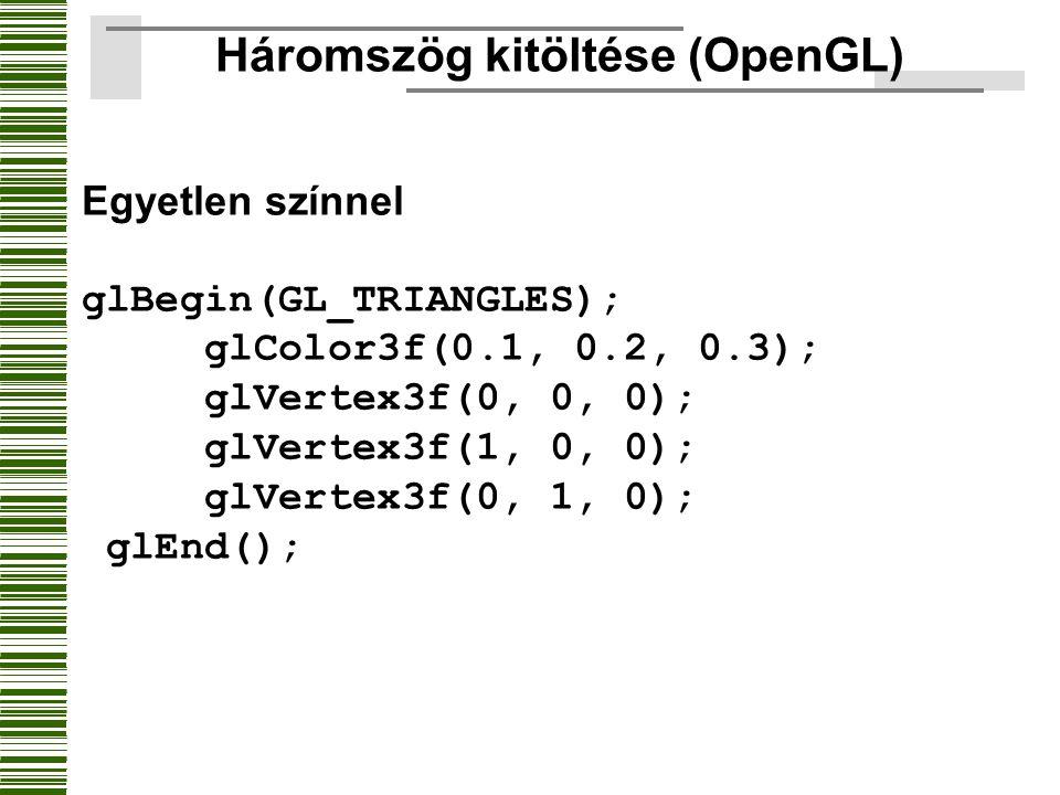 Háromszög kitöltése (OpenGL) Egyetlen színnel glBegin(GL_TRIANGLES); glColor3f(0.1, 0.2, 0.3); glVertex3f(0, 0, 0); glVertex3f(1, 0, 0); glVertex3f(0,