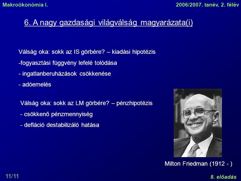 Makroökonómia I.2006/2007. tanév, 2. félév 8. előadás 11/11 6.