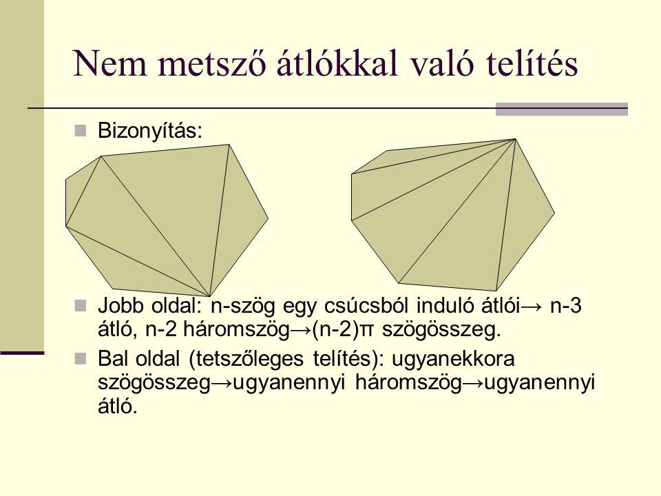 Nem metsző átlókkal való telítés Bizonyítás: Jobb oldal: n-szög egy csúcsból induló átlói→ n-3 átló, n-2 háromszög→(n-2)π szögösszeg.