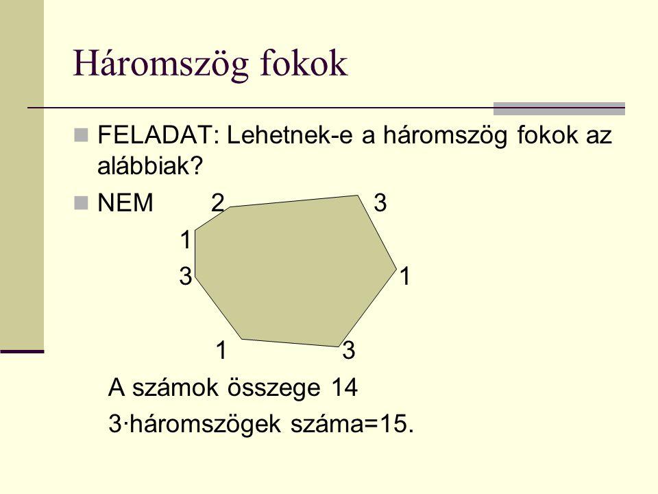 Háromszög fokok FELADAT: Lehetnek-e a háromszög fokok az alábbiak.