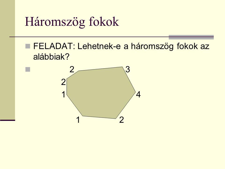 Háromszög fokok FELADAT: Lehetnek-e a háromszög fokok az alábbiak 2 3 2 1 4 1 2