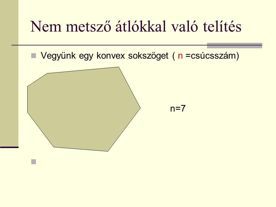 Nem metsző átlókkal való telítés Vegyünk egy konvex sokszöget ( n =csúcsszám) n=7 Húzzunk be egymást nem metsző átlókat, amíg lehetséges.