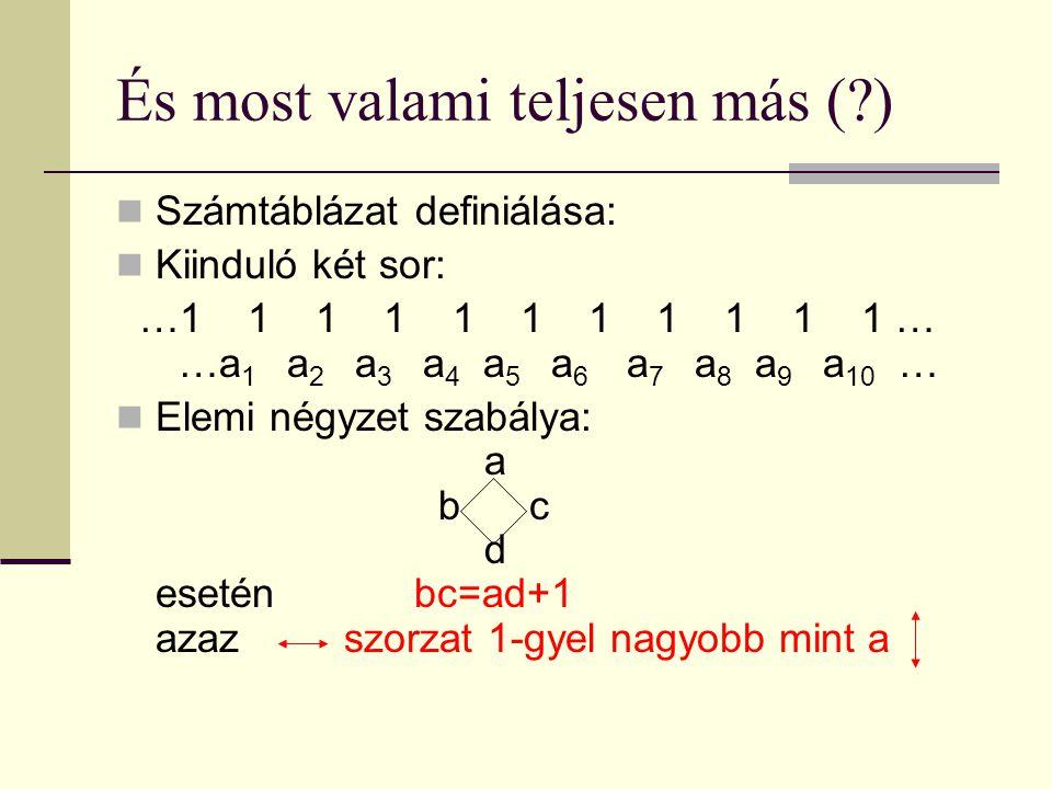 És most valami teljesen más ( ) Számtáblázat definiálása: Kiinduló két sor: …1 1 1 1 1 1 1 1 1 1 1 … 1…a 1 a 2 a 3 a 4 a 5 a 6 a 7 a 8 a 9 a 10 … Elemi négyzet szabálya: a a a b c a d esetén bc=ad+1 azaz szorzat 1-gyel nagyobb mint a