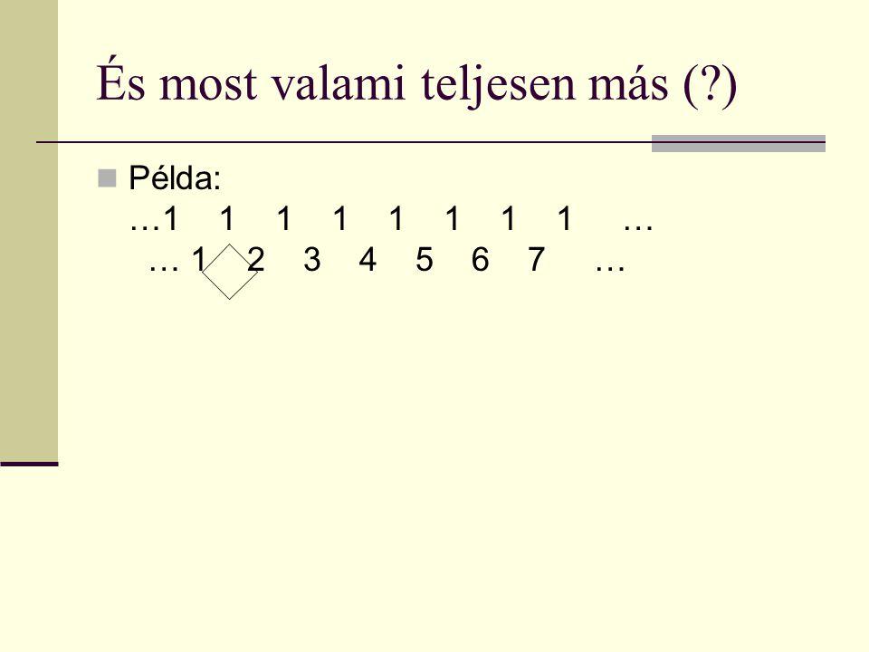 És most valami teljesen más ( ) Példa: …1 1 1 1 1 1 1 1 … 1… 1 2 3 4 5 6 7 … a