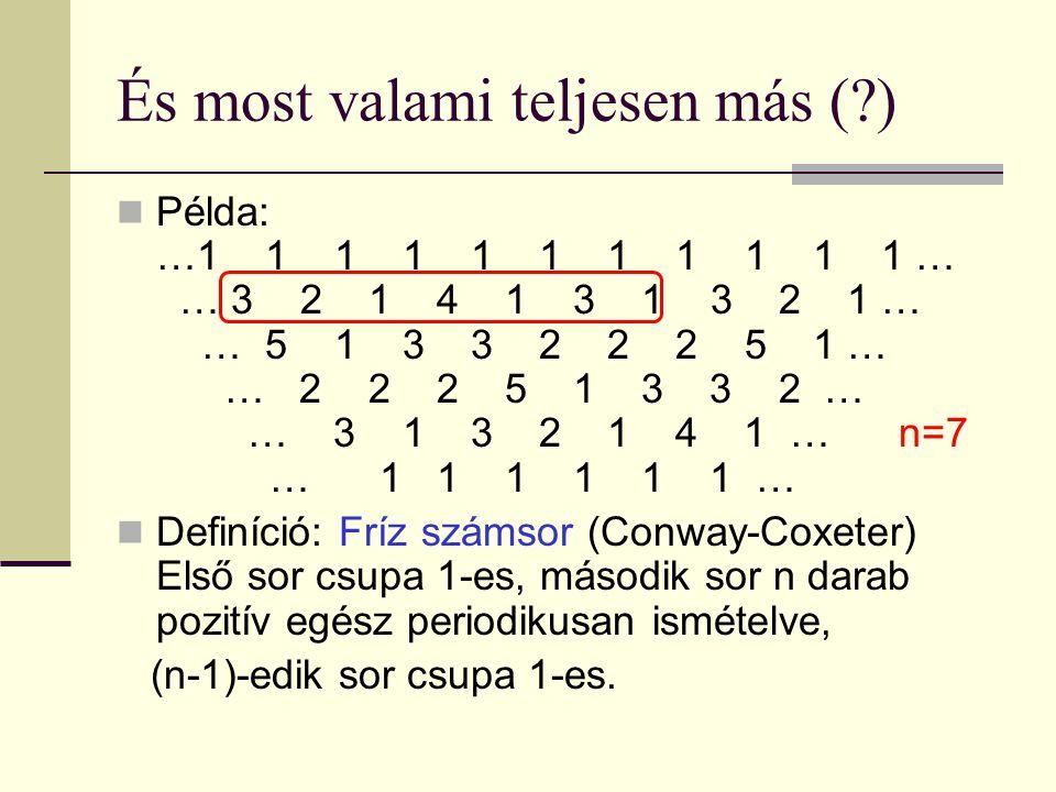 És most valami teljesen más ( ) Példa: …1 1 1 1 1 1 1 1 1 1 1 … 1… 3 2 1 4 1 3 1 3 2 1 … 1 … 5 1 3 3 2 2 2 5 1 … 1 … 2 2 2 5 1 3 3 2 … 1 … 3 1 3 2 1 4 1 … n=7 1 … 1 1 1 1 1 1 … Definíció: Fríz számsor (Conway-Coxeter) Első sor csupa 1-es, második sor n darab pozitív egész periodikusan ismételve, (n-1)-edik sor csupa 1-es.