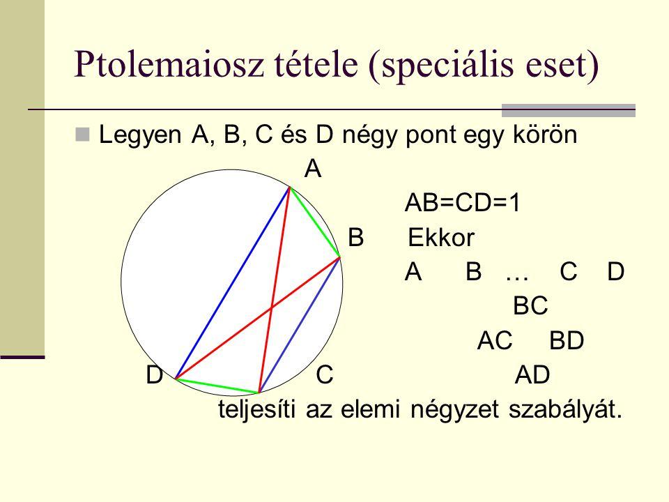Ptolemaiosz tétele (speciális eset) Legyen A, B, C és D négy pont egy körön A AB=CD=1 B Ekkor A B … C D BC AC BD D C AD teljesíti az elemi négyzet szabályát.