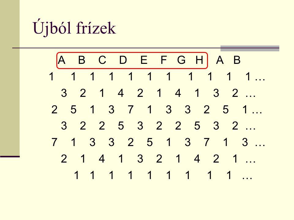 Újból frízek A B C D E F G H A B 1 1 1 1 1 1 1 1 1 1 1 … 3 2 1 4 2 1 4 1 3 2 … 2 5 1 3 7 1 3 3 2 5 1 … 3 2 2 5 3 2 2 5 3 2 … 7 1 3 3 2 5 1 3 7 1 3 … 2 1 4 1 3 2 1 4 2 1 … 1 1 1 1 1 1 1 1 1 …