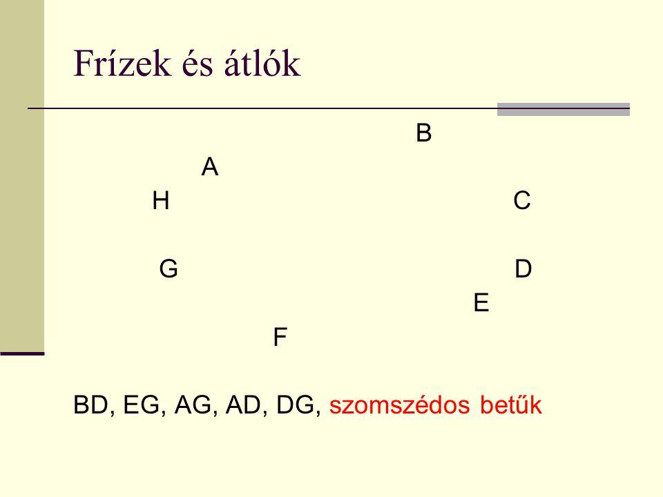 Frízek és átlók B A H C G D E F BD, EG, AG, AD, DG, szomszédos betűk