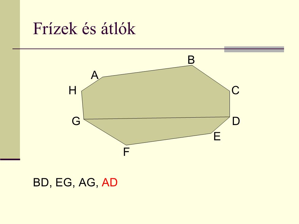 Frízek és átlók B A H C G D E F BD, EG, AG, AD