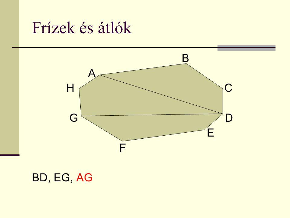 Frízek és átlók B A H C G D E F BD, EG, AG