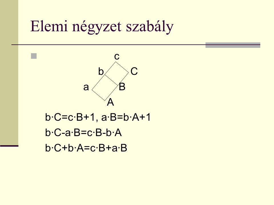 Elemi négyzet szabály c b C a B A b·C=c·B+1, a·B=b·A+1 b·C-a·B=c·B-b·A b·C+b·A=c·B+a·B