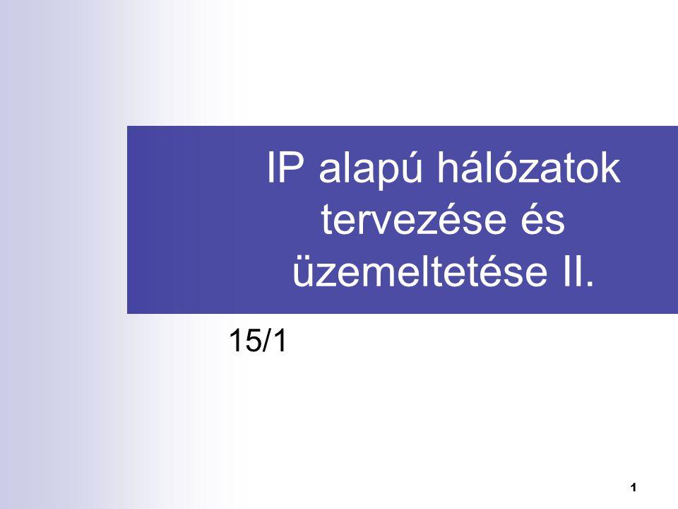 1 IP alapú hálózatok tervezése és üzemeltetése II. 15/1