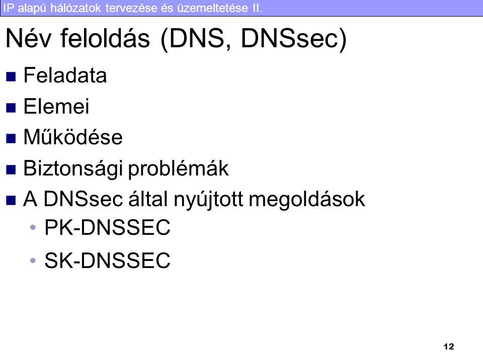 IP alapú hálózatok tervezése és üzemeltetése II. 12 Név feloldás (DNS, DNSsec) Feladata Elemei Működése Biztonsági problémák A DNSsec által nyújtott m