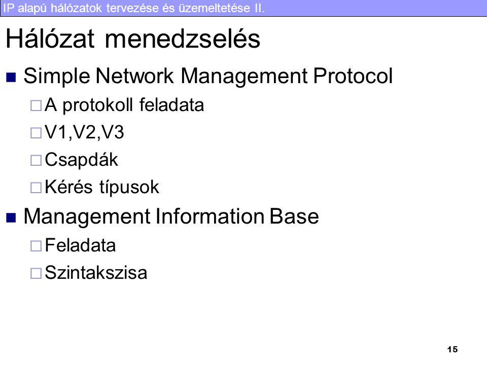 IP alapú hálózatok tervezése és üzemeltetése II. 15 Hálózat menedzselés Simple Network Management Protocol  A protokoll feladata  V1,V2,V3  Csapdák