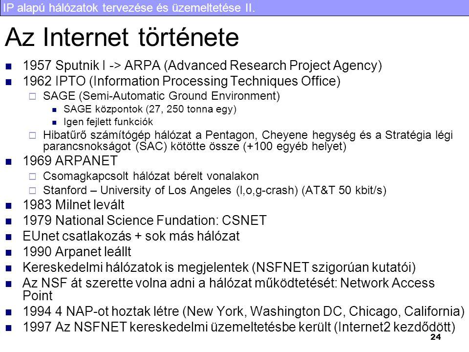 IP alapú hálózatok tervezése és üzemeltetése II. 24 Az Internet története 1957 Sputnik I -> ARPA (Advanced Research Project Agency) 1962 IPTO (Informa