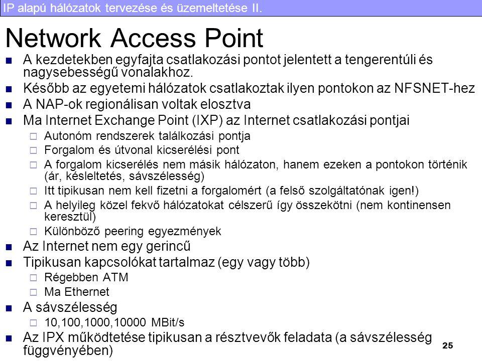 IP alapú hálózatok tervezése és üzemeltetése II. 25 Network Access Point A kezdetekben egyfajta csatlakozási pontot jelentett a tengerentúli és nagyse