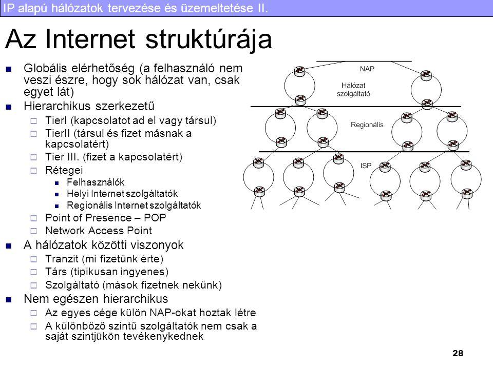 IP alapú hálózatok tervezése és üzemeltetése II. 28 Az Internet struktúrája Globális elérhetőség (a felhasználó nem veszi észre, hogy sok hálózat van,