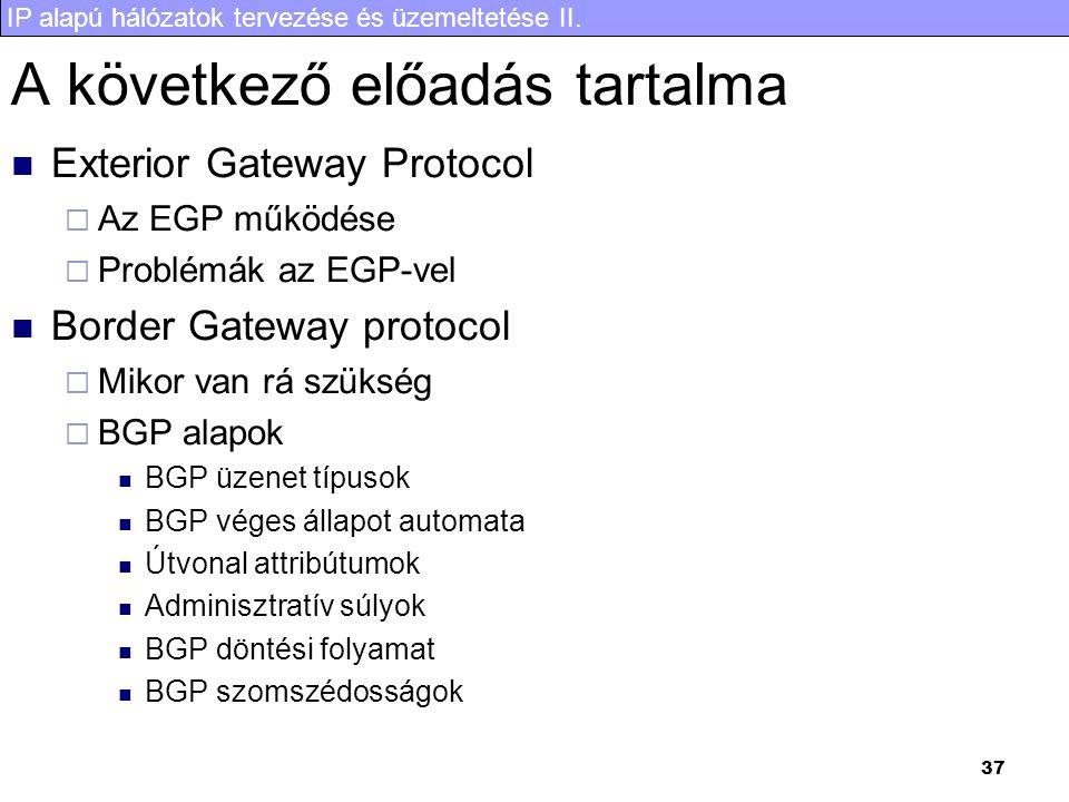 IP alapú hálózatok tervezése és üzemeltetése II. 37 A következő előadás tartalma Exterior Gateway Protocol  Az EGP működése  Problémák az EGP-vel Bo