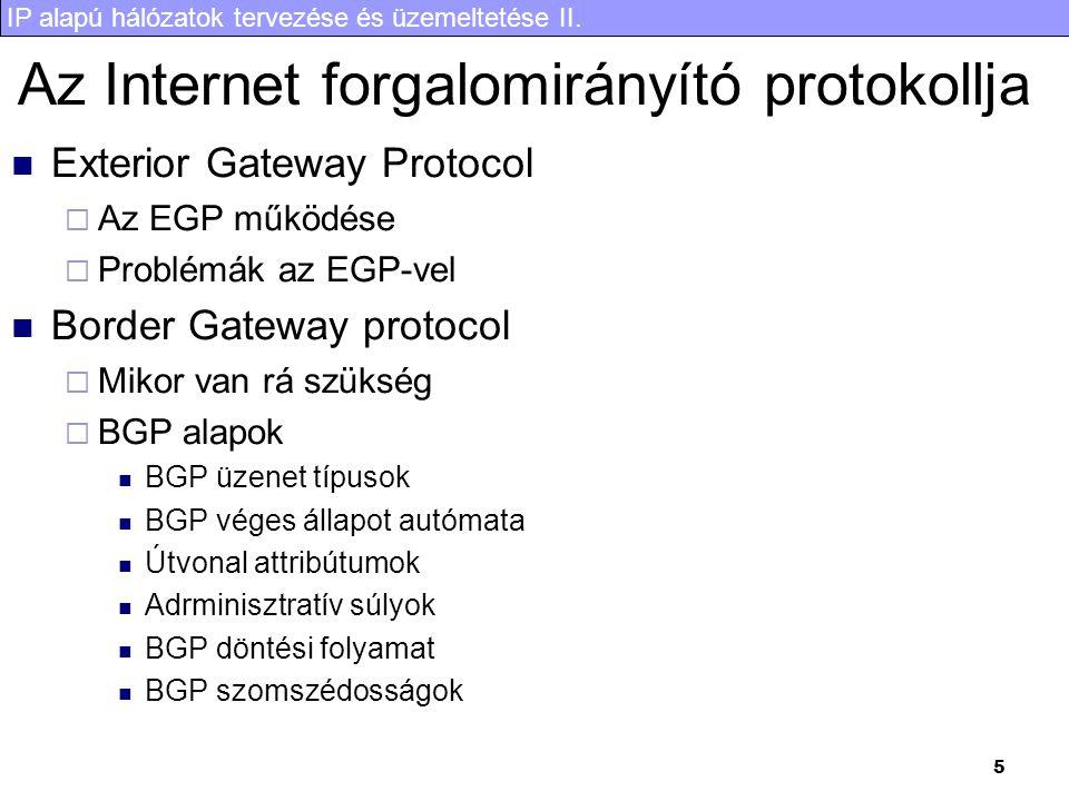IP alapú hálózatok tervezése és üzemeltetése II. 5 Az Internet forgalomirányító protokollja Exterior Gateway Protocol  Az EGP működése  Problémák az