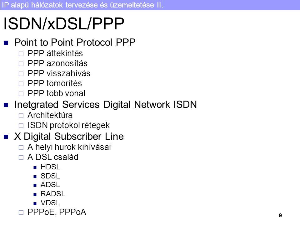 IP alapú hálózatok tervezése és üzemeltetése II. 9 ISDN/xDSL/PPP Point to Point Protocol PPP  PPP áttekintés  PPP azonosítás  PPP visszahívás  PPP