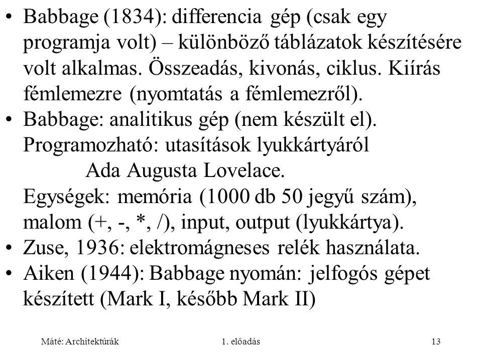 Máté: Architektúrák1. előadás13 Babbage (1834): differencia gép (csak egy programja volt) – különböző táblázatok készítésére volt alkalmas. Összeadás,