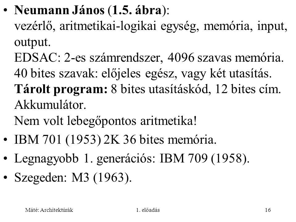 Máté: Architektúrák1. előadás16 Neumann János (1.5. ábra): vezérlő, aritmetikai-logikai egység, memória, input, output. EDSAC: 2-es számrendszer, 4096