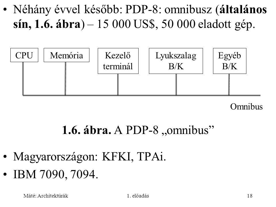 Máté: Architektúrák1.előadás18 Néhány évvel később: PDP-8: omnibusz (általános sín, 1.6.