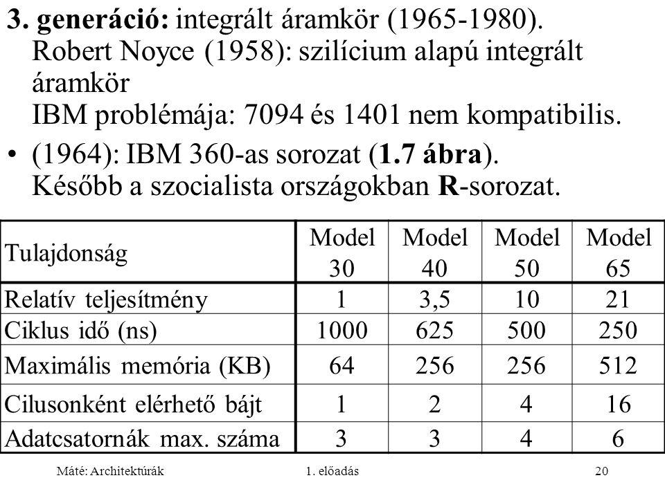 Máté: Architektúrák1. előadás20 3. generáció: integrált áramkör (1965-1980). Robert Noyce (1958): szilícium alapú integrált áramkör IBM problémája: 70