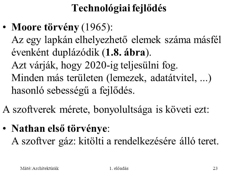 Máté: Architektúrák1. előadás23 Technológiai fejlődés Moore törvény (1965): Az egy lapkán elhelyezhető elemek száma másfél évenként duplázódik (1.8. á