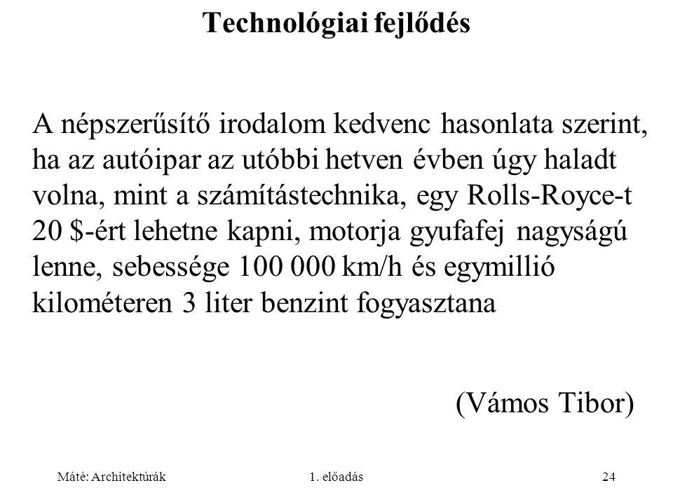 Máté: Architektúrák1. előadás24 Technológiai fejlődés A népszerűsítő irodalom kedvenc hasonlata szerint, ha az autóipar az utóbbi hetven évben úgy hal