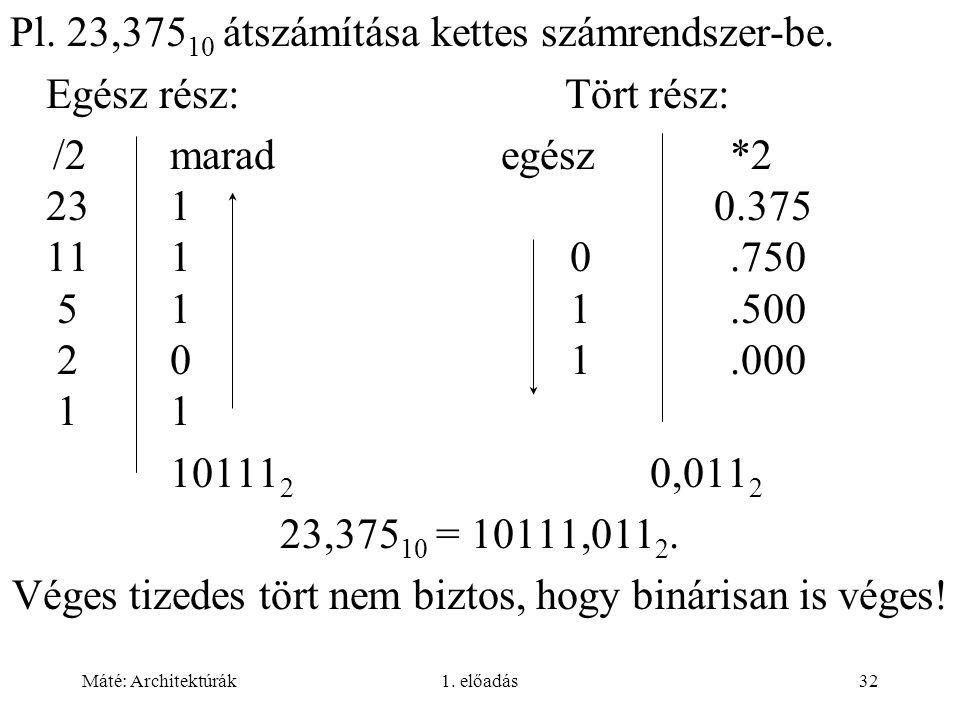 Máté: Architektúrák1. előadás32 Pl. 23,375 10 átszámítása kettes számrendszer-be. Egész rész: Tört rész: /2marad egész *2 231 0.375 1110.750 511.500 2