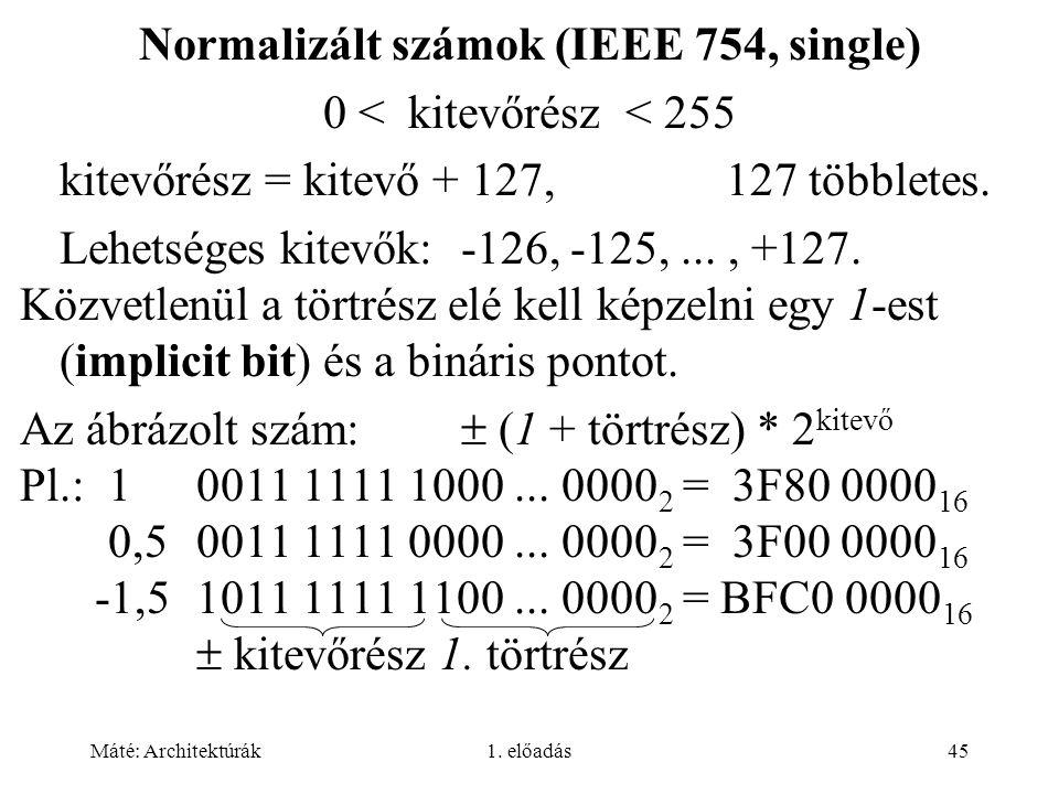 Máté: Architektúrák1. előadás45 Normalizált számok (IEEE 754, single) 0 < kitevőrész < 255 kitevőrész = kitevő + 127, 127 többletes. Lehetséges kitevő