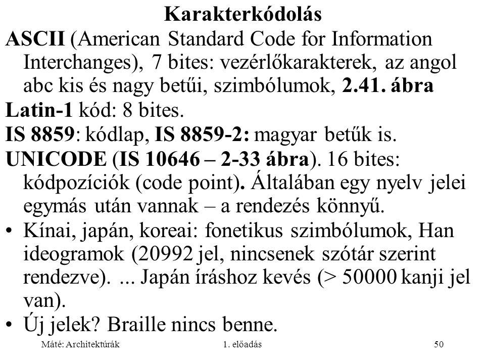 Máté: Architektúrák1. előadás50 Karakterkódolás ASCII (American Standard Code for Information Interchanges), 7 bites: vezérlőkarakterek, az angol abc